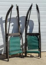 (2) Bridge Luges, wood frames, green seats, 55