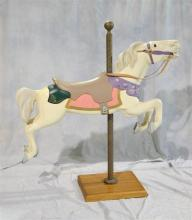 Contemporary Reproduction Carosel Horse, Pink decorated REsin with Brass Center Pole; horse meassures 54