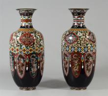 Pr cloisonne paneled vases, each of 8 panels with phoenix and dragon decorations, one with a small chip at neck, 14 1/4