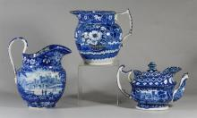 (3) pcs blue transfer Staffordshire, 2 pitchers and a teapot, each with considerable damage, restoration, tallest pitcher 10
