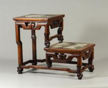 Chinese 2 step wood curio stand, marble inserts, 13 1/4