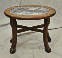 Chinese oval marbletop pedestal, carved frame with ball and claw feet, c 1900,  scratches and chips to marble, 14