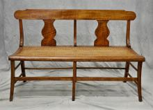 American Federal figured maple caned seat bench, 32 1/4