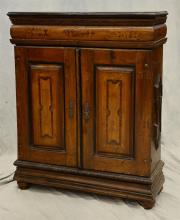 Continental inlaid valuables cabinet, bun feet, floral inlaid decoration on doors, inside with doors and drawers, 18th/19th c, 45