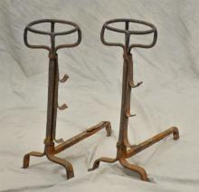 Pr wrought iron peat basket andirons, English or Continental, light surface rusting, 18