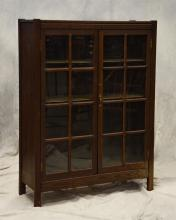 Oak Arts & Crafts 2 door bookcase, glass doors, 3 shelves, light wear, scratches, 48