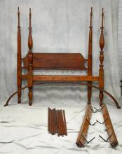Sheraton 4 post canopy bed, plain turned head posts, foot posts turned and fluted, arched canopy top, various nicks and marks consis...