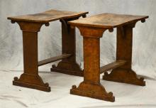 Pr Biedermier style burl walnut side tables, 19th c, wear and staining, some warping to tops, tables are different heights:  1 table...