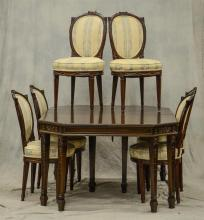 (7) pc Adams style carved mahogany dining room set, c/o 6 mahogany carved dining chairs with floral upholstered seats, dining table ...