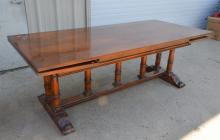 Regency style dining table, plume decoration on feet, 30 1/2