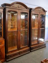 Pr walnut Victorian 2 door bookcases, wood shelves, each with 2 drawers, 95-1/2