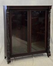 Carved mahogany Federal style 2 door bookcase, acanthus carved columns, wood shelves, c 1880-1900, 60