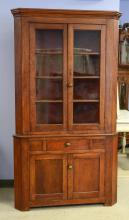 2 pc cherry 8-pane corner cupboard, 2 4-pane doors, glass appears original,  over one drawer over two flat paneled doors, PA, early-...