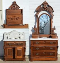 (3) pc walnut  Victorian MT bedroom set, set includes dresser with mirror, nightstand and bed,  mirror missing wooden screws