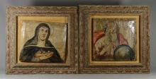 Pair of Renaissance style paintings of a saint and a scholar, oil on chamfered wood raised panels, each 13-1/2
