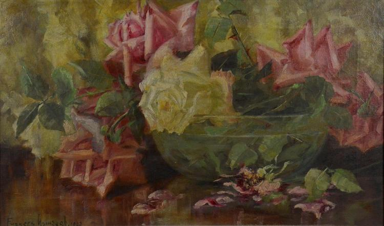 Frances Mumaugh (American 1859-1933), still life painting of roses, oil on canvas, signed lower left, 12