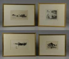 Howard Frech (20th C American), 4 original etchings, pencil signed, titles include