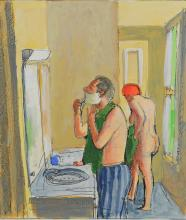 John Mart Opie (American, b 1936), painting title Morning Shave, mixed media on paper, pencil signed Opie, measures 5-1/2