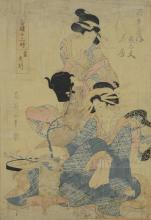 Japanese woodblock print of two women, measures 14-7/8