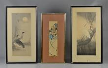 (3) Japanese woodblock prints, signed and bearing seals, birds measures 15