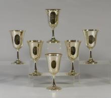 6 Wallace sterling silver goblets, each measures 6-5/8