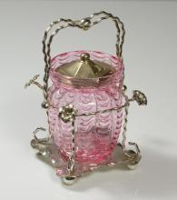 Silverplate jelly jar with art glass insert, hallmarks on bottom, measures 6-1/2