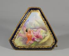 Sevres-style French porcelain hinged box, handpainted courting scene, signed G Rochette, gilt bronze mounts, measures 3-1/2