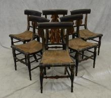 6 Lyre back paint decorated side chairs, ebonized painted frame with gilt highlights, lyre decorated back, rush seats, 33 1/4
