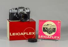 Leicaflex 35mm SLR camera, black and silver, SN 1117167, c 1965, with a Leitz Wetzler Summicron R 1:2/50 lens, SN 2033940, with orig...