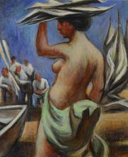 G Ralph Smith (American PA, 1907-2007), painting of female nude, oil on canvas, signed lower right, 13-1/2