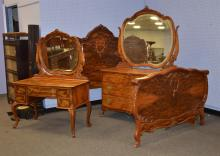 (3) pc French style Circassian walnut bedroom set, set includes vanity with mirror, dresser with mirror, bed, brass hardware, claw f...