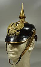 Imperial German leather pickelhaube, c 1860-70, some loose stitching at rear visor, generally excellent