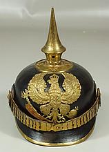 Imperial German Prussian officers leather pickelhaube, M1871, scaled chin strap, generally excellent