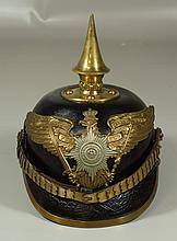 Imperial German Prussian leather pickelhaube, M1895, scaled chin strap, generally excellent, with brown cover