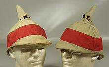 (2) officers red stripe pickelhaube covers, each stamped D.R.P. inside back rim cover, generally very good, expected wear
