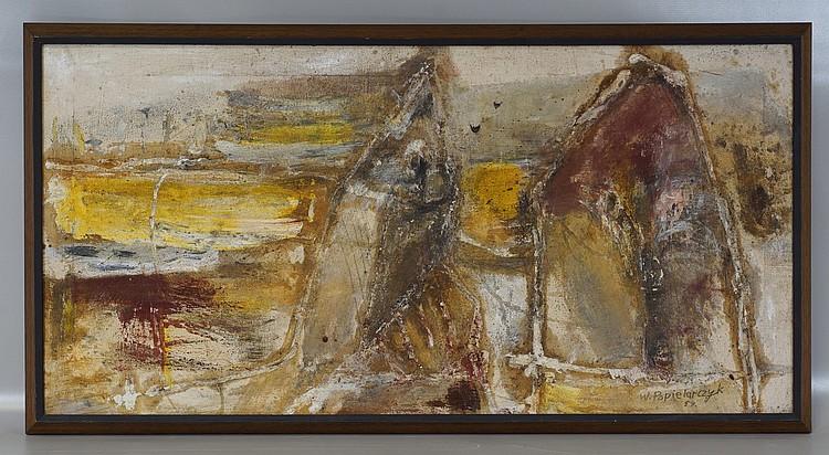 Wladyslaw Popielarczyk, Polish, 1925-1987, o/c, Abstract, 15 3/4