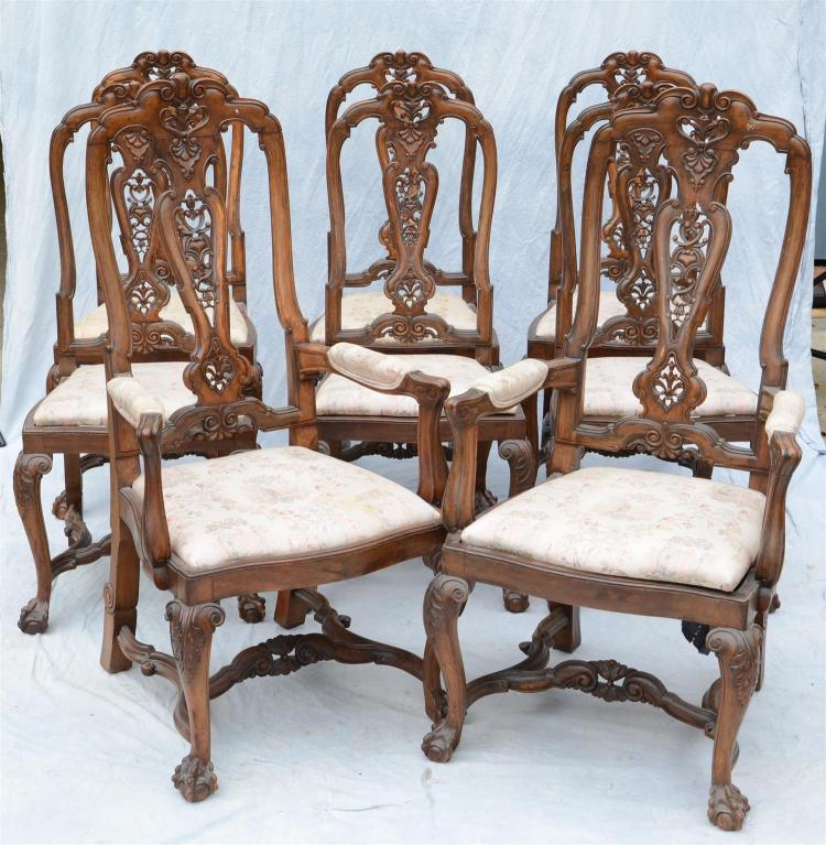 8 continental carved dining room chairs 6 side 44 h 2 arm