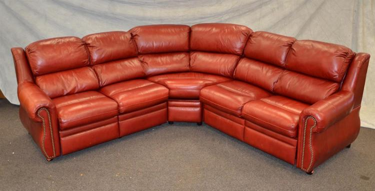 3 piece sectional red leather sofa with recliner ends appro for Sectional sofa with reclining ends
