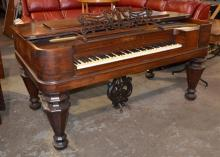 Rosewood Victorian coffin style grand piano by Chickering, 80 keys, no SN,