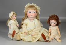 (3) Reproduction bisque head dolls, JDK Kestner mold #221, googly eyed, melon shaped mouth, jointed composition body, 19