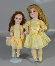 (2) Reproduction bisque head French Jumeau dolls, set eyes, closed mouth, pierced ears, jointed composition body, one by Lynda & Ala...