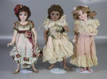 (3) Ribbons and Ringlets all bisque dolls, each 13-1/2