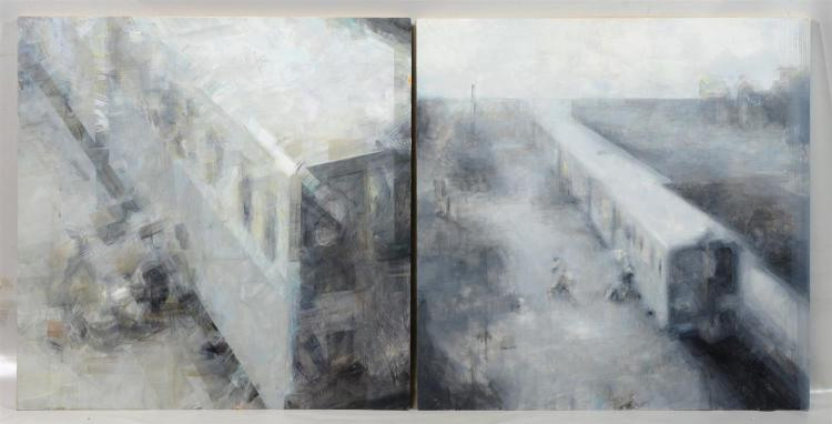 (2) Norman Leto (born Lukasz Banach, Polish, b 1980), oil on board, Diptych of Train, each signed and dated