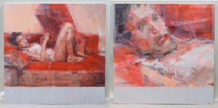 (2) Norman Leto (born Lukasz Banach, Polish, b 1980), oil on board, Diptych Portrait of Woman, scene from