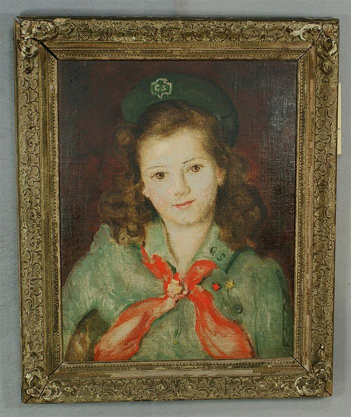 Josephine Paddock, American, NY, 1885-1964, o/c, Young Girl Scout, 14