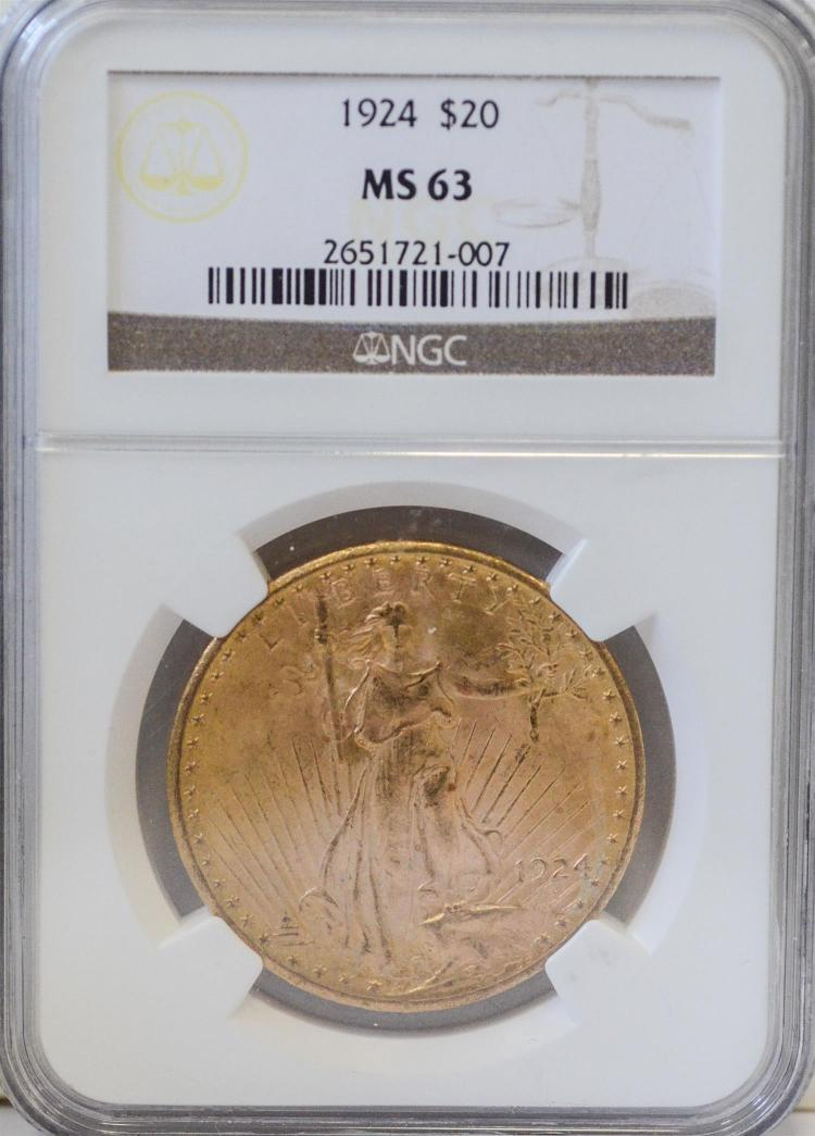 1924 20 st gaudens gold coin ngc ms 63. Black Bedroom Furniture Sets. Home Design Ideas