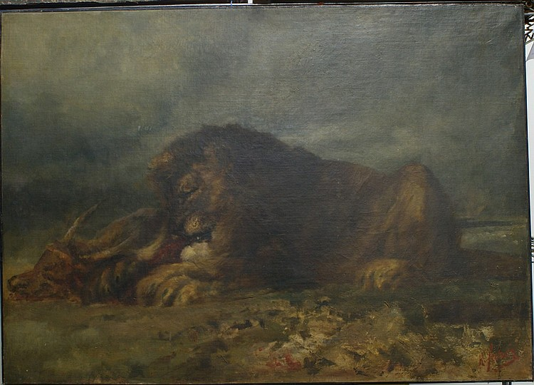 Hermann Faber, German-American, 1832-1913, o/c, a lion feasting on his kill, titled
