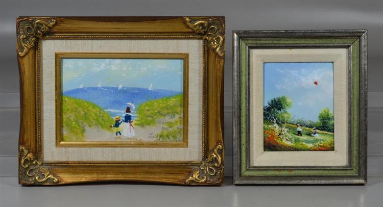 2 Enamel on copper plaques, one by Charles Parthesius (American, 1899-1987), the other signed Jean Lucey, figures by the seaside, 9