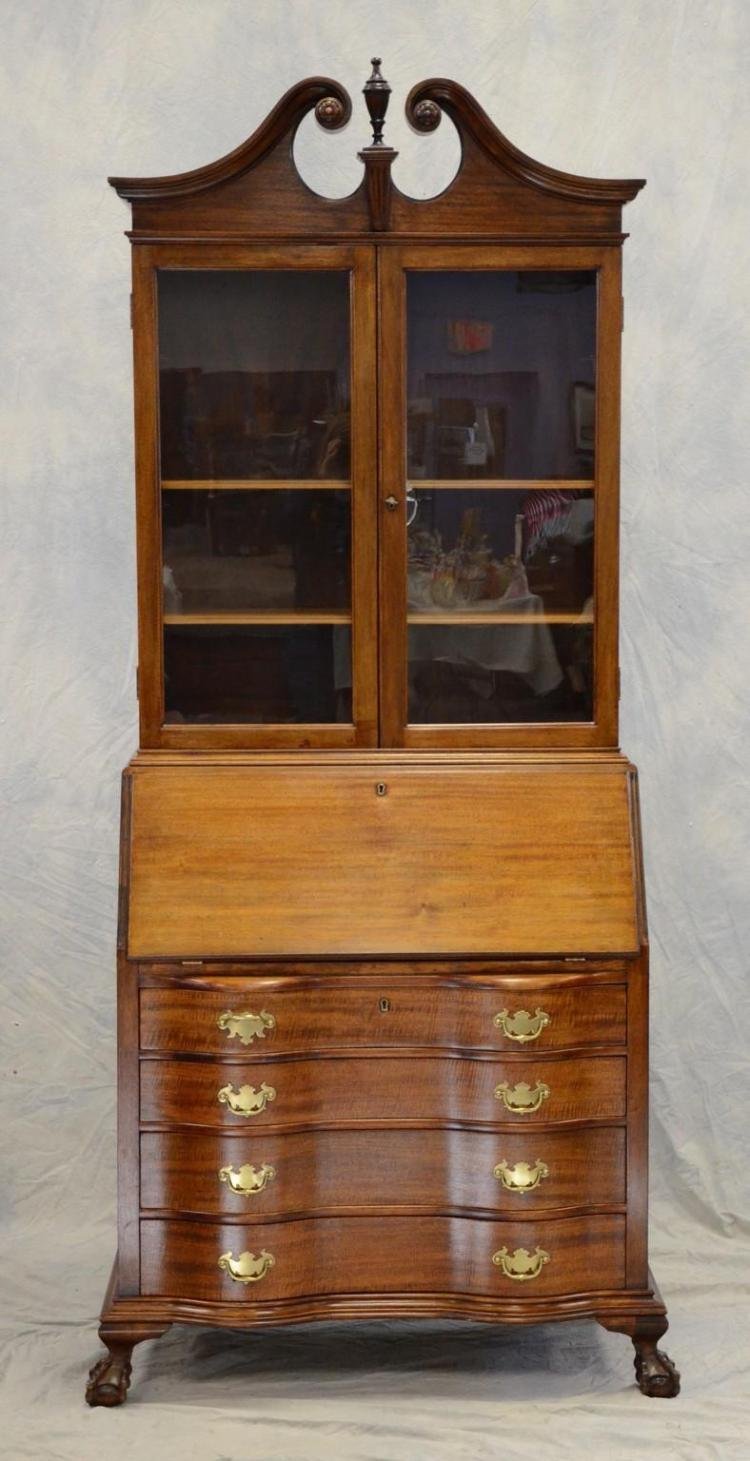 2 Pc Mahogany Chippendale Style Secretary Desk By Rockford F