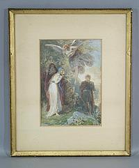 "Alexander Zick, German, 1845-1907, watercolor and pencil, Miranda and Ferdinand, site size 10""x7"""